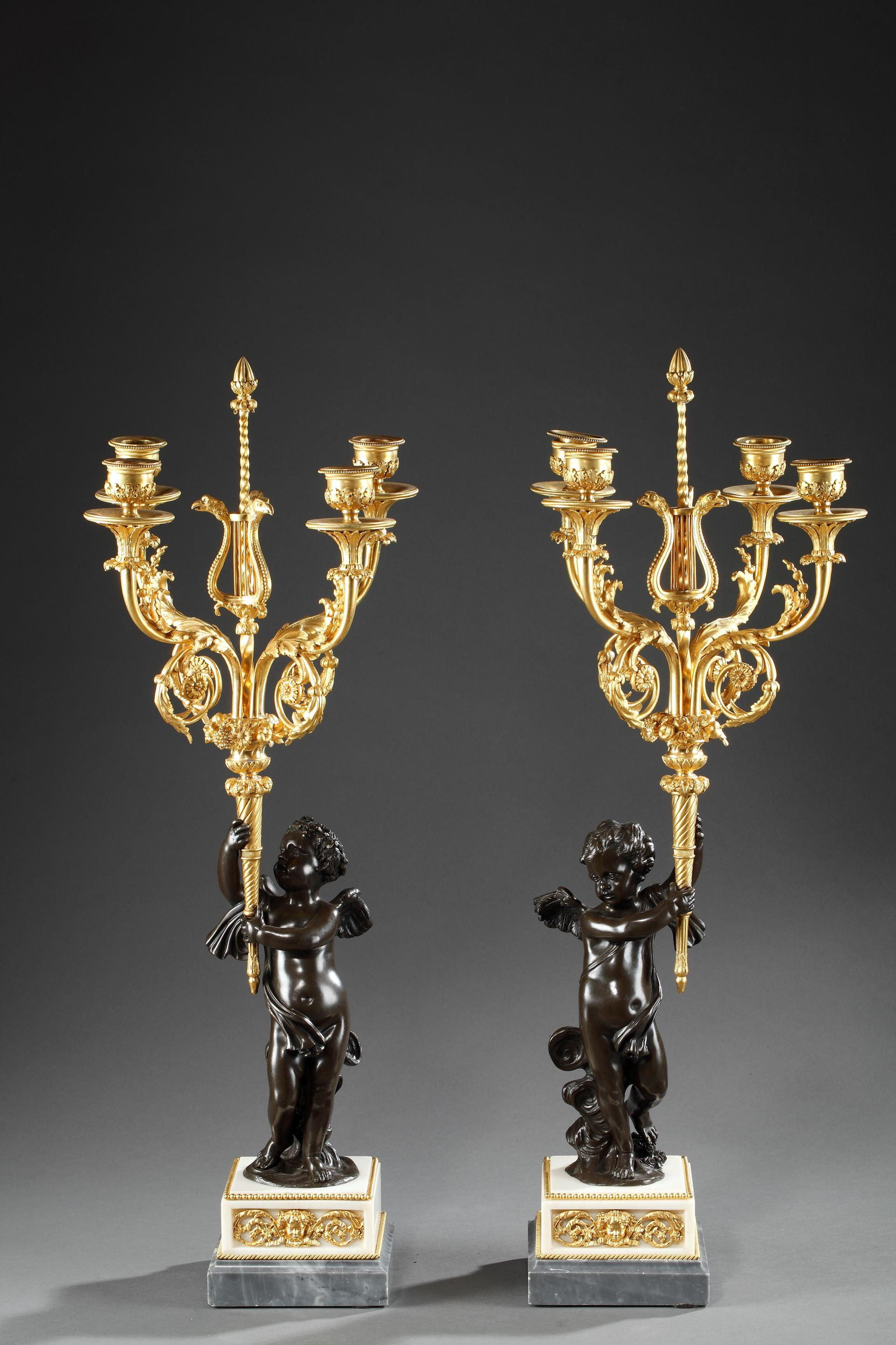 PAIR BRONZE AND MARBLE CANDELABRAS.<br/>