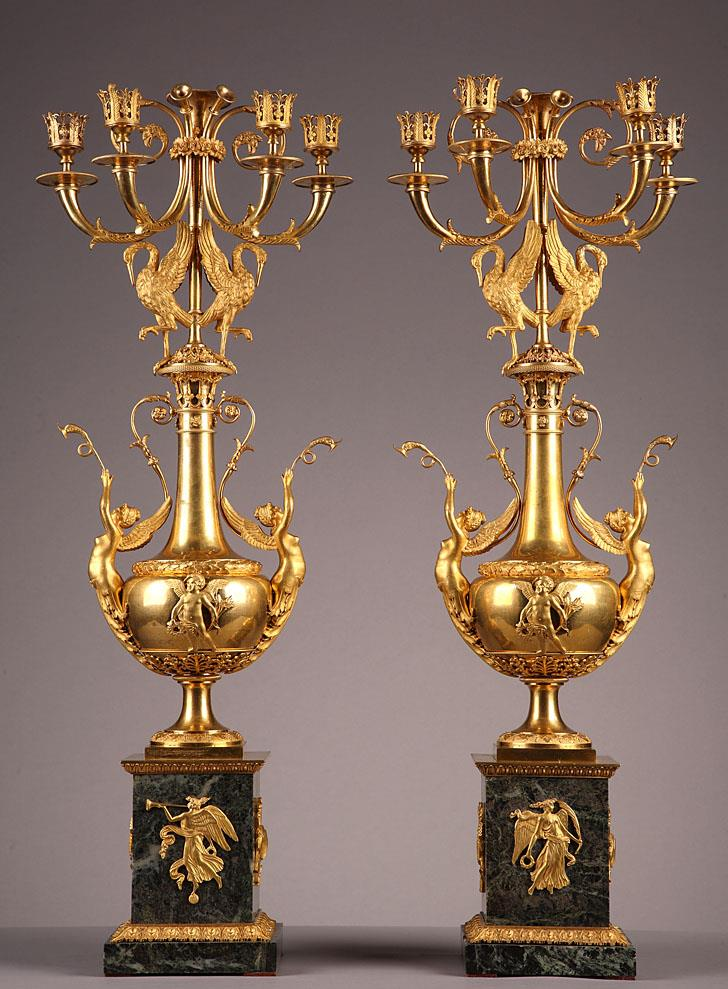 Pair of gilt bronze and marble candelabras. French Directory period.