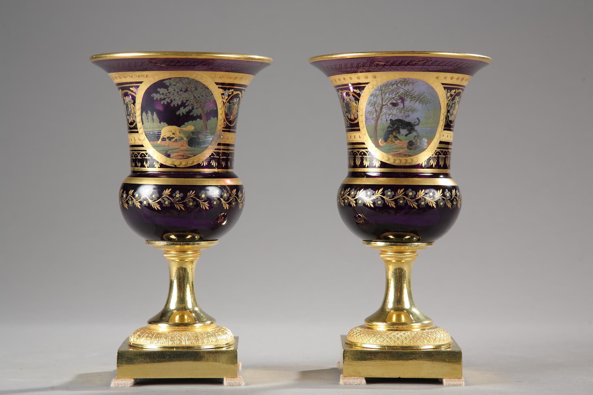 Pair of purple opaline medici Vases