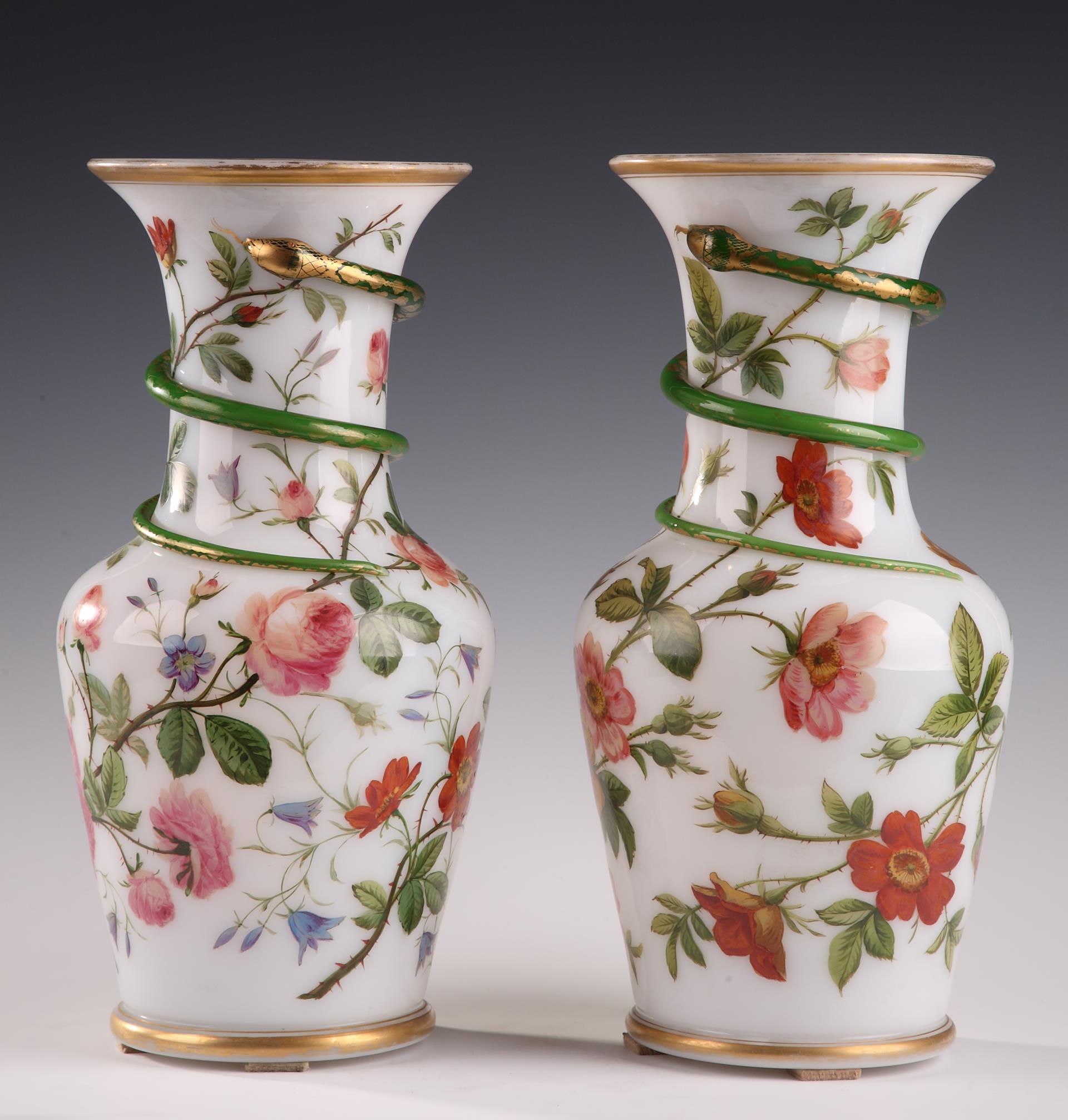 Pair of white opaline vases. Model of J-F Robert.<br/> Circa 1840-1850.