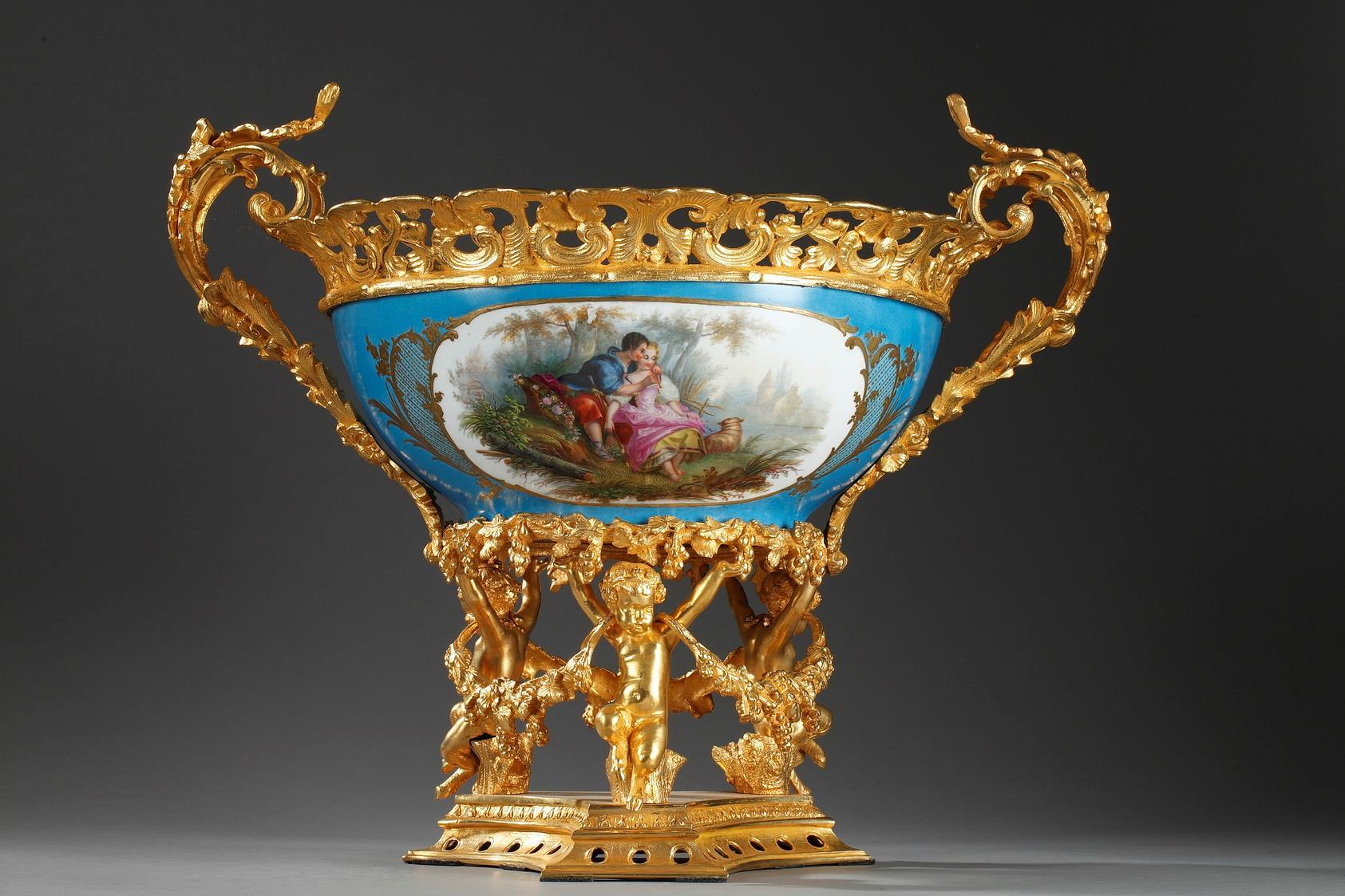 Porcelain-mounted gilded bronze.  Napoleon III