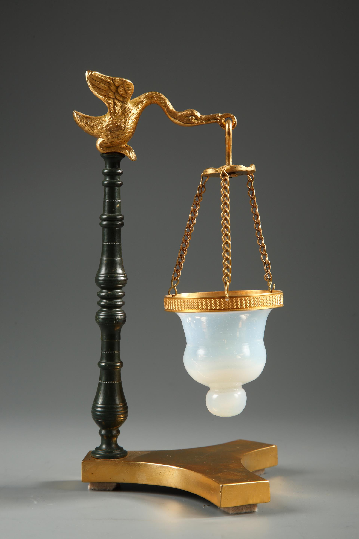 Restauration bronze and opaline Nightlight. Circa 1820-1830