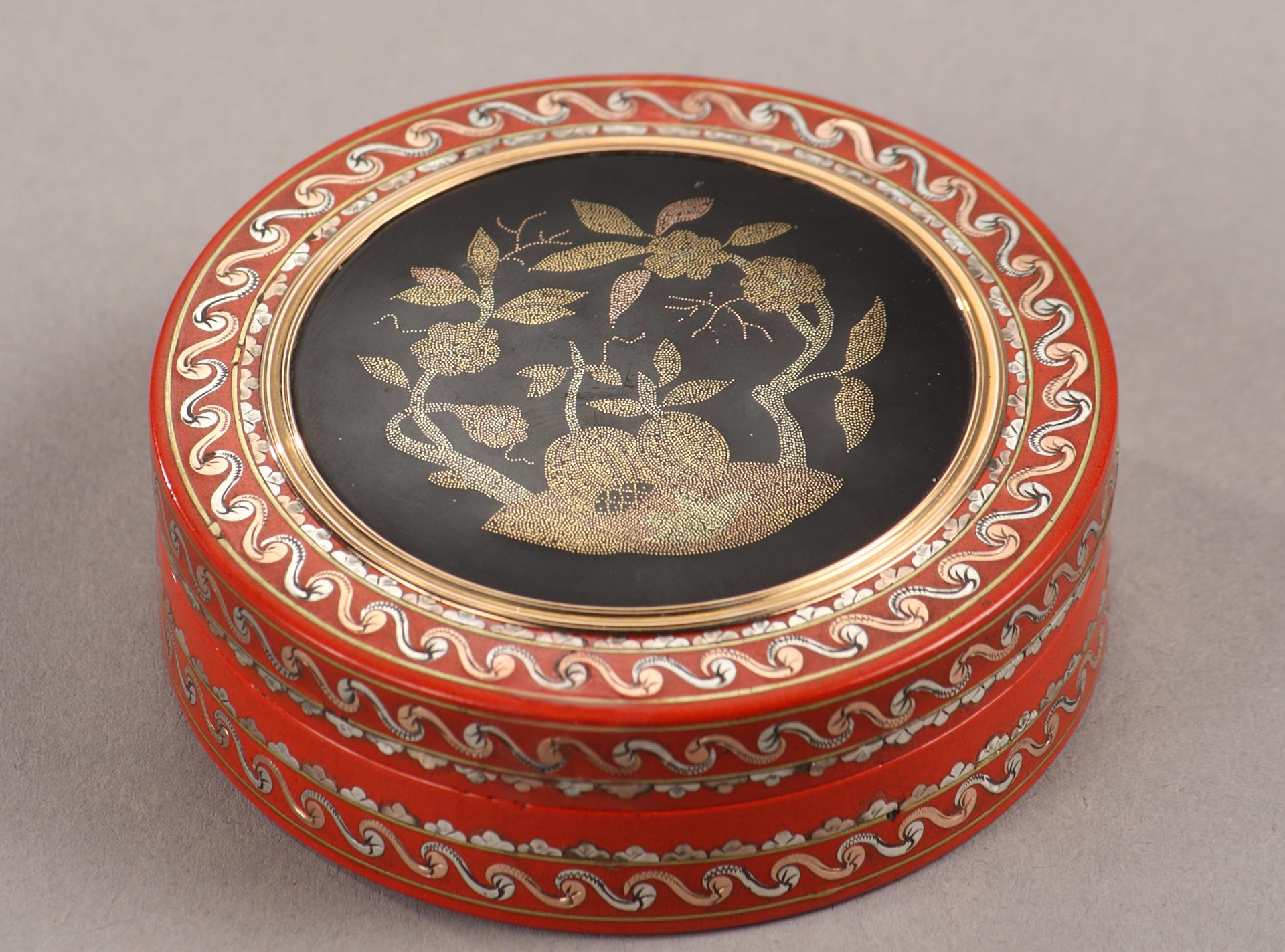 VARNISH AND GOLD PIQUE-WORK BOX. MID-18TH CENTURY.