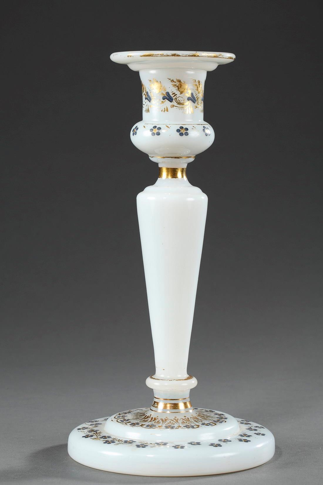 White opaline crystal candelstick.
